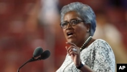 Democratic National Committee Vice Chair Donna Brazile speaks during the second day of the Democratic National Convention in Philadelphia , July 26, 2016.