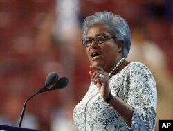 FILE - Democratic National Committee Vice Chair Donna Brazile speaks during the second day of the Democratic National Convention in Philadelphia , July 26, 2016.