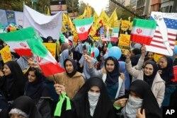 4일 이란 수도 테헤란에서 주이란 미국 대사관 점거 사건 40주년을 맞아 대규모 반미 시위가 열렸다.
