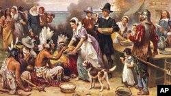 Para pendatang dan masyarakat Indian berkumpul bersama untuk menyantap hidangan besar pada 1621 untuk merayakan panen sukses pertama Koloni Plymouth.
