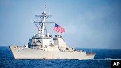ເຮືອພິຄາດ ຕິດລູກສອນໄຟນຳວິຖີ USS Stethem ຂອງສະຫະລັດ ທີ່ປະຕິບັດງານ ຢູ່ເຂດໜ່ານນໍ້າສາກົນ ທີ່ຢູ່ຫ່າງຈາກອ່າວ Subic ປະມານ 260 ກິໂລແມັດ ທາງຝັ່ງຕາເວັນຕົກ ຂອງເກາະ Luzon ປະເທດຟີລິບປິນ.
