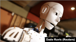 "Humanoid robot called ""Robby Megabyte"" is seen in Sarajevo, Bosnia and Herzegovina, February 3, 2021."