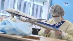 Ճապոնական All Nippon ավիաուղիների հարյուր աշխատակիցները բժշկական հագուստ և դիմակնե են կարում