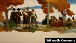This 1940 painting by Newell Convers Wyeth depicts the first harvest festival at Plymouth, now celebrated as Thanksgiving.