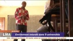 Enrôlement interdits dans neuf universités