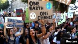2019年9月20日英國倫敦舉行反氣候變化遊行。