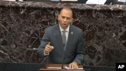 House impeachment manager Rep. Hakeem Jeffries, D-N.Y., speaks during the impeachment trial against President Donald Trump in the Senate at the U.S. Capitol in Washington, Jan. 24, 2020, in this image taken from video.