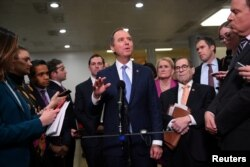 House of Representatives Intelligence Committee Chairman Adam Schiff (D-CA) speaks to reporters on the fourth day of the Senate impeachment trial of U.S. President Donald Trump at the U.S. Capitol in Washington, Jan. 24, 2020.