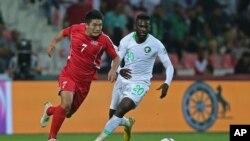 북한 축구선수 한광성이 지난해 1월 두바이에서 열린 사우디아라비와의 아시안컵 E조 경기에 출전했다.