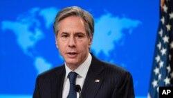 Menteri Luar Negeri Antony Blinken berbicara selama konferensi pers di Departemen Luar Negeri di Washington. (Foto: AP)