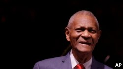 FILE - Legendary pianist McCoy Tyner looks to the audience after performing at the Botanical Garden Città Studi, in Milan, Italy, July 6, 2017.