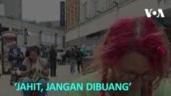 'Jahit, Jangan Dibuang' Penjahit Jalanan Anjurkan Perbaiki Pakaian Rusak