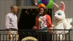 白宫复活节滚彩蛋与民同乐