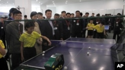 Table tennis practice equipment is on display during the 23rd National Exhibition of Sports Scientific and Technological Achievements at the Sci-Tech Complex in Pyongyang, North Korea, Oct. 16, 2019.
