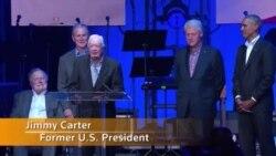 پنج رییس جمهور پیشین آمریکا در مراسم خیریه برای قربانیان طوفان