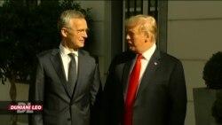Rais Donald Trump katika mkutano wa NATO hivi leo.