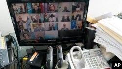 El secretario general de la ONU, Antonio Guterres, se dirige al plenario a través de una videoconferencia en estos tiempos de pandemia.