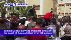 VOA60 Africa - 100 migrants die in a boat accident off the Tunisian coast