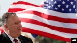 2020年10月2日,美国国务卿蓬佩奥在克罗地亚的杜布罗夫尼克市与克罗地亚总理安德烈·普连科维奇举行联合新闻发布会上发表讲话。