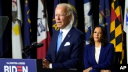Democratic presidential candidate former Vice President Joe Biden speaks during a campaign event with his running mate Sen. Kamala Harris, D-Calif., at Alexis Dupont High School in Wilmington, Del.