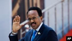Le président somalien Mohamed Abdullahi Mohamed arrive pour la cérémonie de prestation de serment de Cyril Ramaphosa à Pretoria, en Afrique du Sud, le 25 mai 2019.