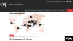 Izgled sajta Komiteta za zaštitu novinara (CPJ) na kome je prikazana karta svijeta sa elementima Indeksa o globalnom nekažnjavanju 2019. Na karti se vide tačke na kojima su novinari ubijani, a njihove ubice slobodne, 29. oktobra 2019.