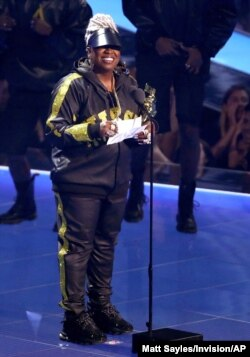 Missy Elliott accepts the Video Vanguard award at the MTV Video Music Awards at the Prudential Center, Aug. 26, 2019, in Newark, N.J.