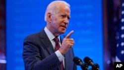 លោក Joe Biden បេក្ខជនប្រធានាធិបតីខាងគណបក្សប្រជាធិបតេយ្យ ថ្លែងអំពីការតែងតាំងបេក្ខជនចៅក្រមតុលាការកំពូលថ្មីម្នាក់ដោយលោកប្រធានាធិបតី Trump នៅទីក្រុង Wilmington រដ្ឋ Delaware កាលពីថ្ងៃទី២៧ ខែកញ្ញា ឆ្នាំ២០២០។