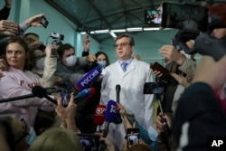 Alexander Murakhovsky, chief physician of the Omsk Ambulance Hospital No. 1 intensive care unit where opposition leader Alexei Navalny was hospitalized, speaks to the media in Omsk, Russia, Aug. 21, 2020.