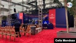 Ambiente previo al primer debate presidencial a realizarse en Cleveland. Foto: Celia Mendoza, VOA