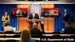 U.S. Secretary of State Michael R. Pompeo delivers remarks to the media in the Press Briefing Room, at the Department of State in Washington, D.C., July 15, 2020. (State Department Photo by Freddie Everett)