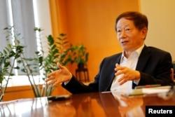 資料照:台灣半導體巨頭TSMC主席劉德音在接受采訪。 (2018年8月31日)