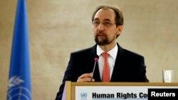 Trưởng Cao ủy Liên Hiệp Quốc về Nhân quyền Zeid Ra'ad al-Hussein tại một phiên họp của Hội đồng Nhân quyền tại trụ sở Liên Hiệp Quốc châu Âu, Geneva, Thụy Sĩ, ngày 29 tháng 2 năm 2016.