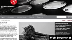 """A screenshot of the Global Witness website on May 13, 2013, shows the release of the new report """"Rubber Barons."""""""
