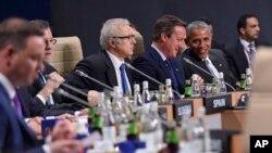 美国总统奥巴马和英国首相卡梅伦在北约峰会一次会议开始前交谈(2016年7月9日)