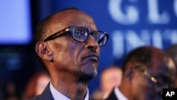 FILE - Rwandan President Paul Kagame attends a session at the Clinton Global Initiative, New York, Sept. 22, 2014.