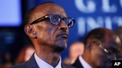 FILE - Rwandan President Paul Kagame attends session at the Clinton Global Initiative, New York, Sept. 22, 2014.