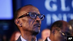 FILE - Rwandan President Paul Kagame attends session at the Clinton Global Initiative, New York.
