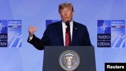 El presidente de EE.UU., Donald Trump, ofreció una conferencia de prensa tras participar en la cumbre de la OTAN en Bruselas el jueves, 12 de julio de 2018.
