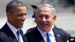 Presiden AS Barack Obama (kiri) dan PM Israel Benjamin Netayahu dalam pertemuan di Tel Aviv, Israel (20/3). Obama meyakinkan Netanyahu agara meminta maaf kepada Turki.
