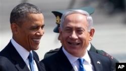 美国总统奥巴马(左)和以色列总理内塔尼亚胡