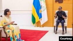 Perezida Paul Kagame yakira Umunyamabanga mukuru wa Commonwealth Patricia Scotland