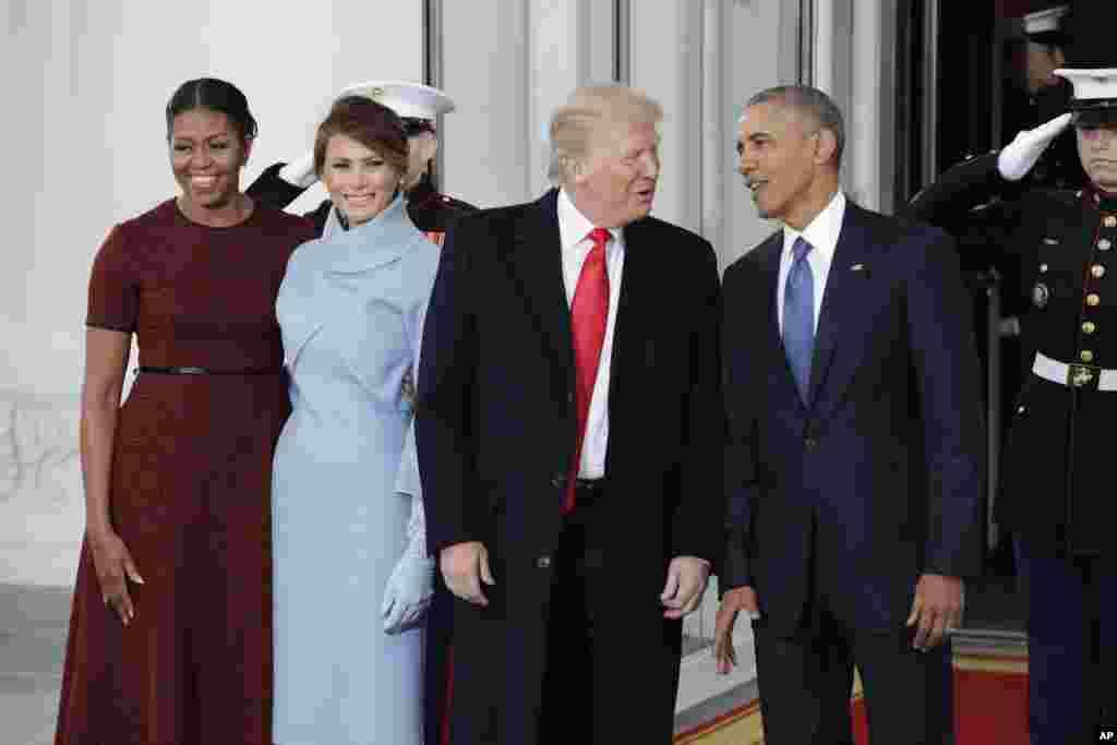 Donald Trump et Melania sont arrivés à la Maison Blanche, reçus par Barack Obama et Michelle, le 20 janvier 2017.