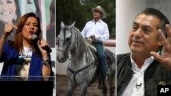 """De izquierda a derecha, Margarita Zavala; Jaime Rodríguez, conocido popularmente como """"El Bronco""""; y Armando Ríos Piter, un político poco conocido apodado """"El Jaguar"""". (AP )"""