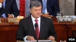 乌克兰总统波罗申科在美国国会演讲。