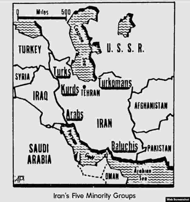 İranda yaşayan qeyri-fars etniklərin xəritəsi Associated Press - 1979