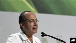 ປະທານາທິບໍດີ Felipe Calderon ແຫ່ງເມັກຊິໂກ ກ່າວໄຂ ກອງປະຊຸມວ່າດ້ວຍການປ່ຽນແປງຂອງດິນຟ້າອາກາດ ທີ່ເມືອງ Cancun, ວັນທີ 29 ພະຈິກ 2010.