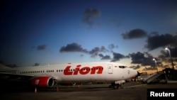 Pesawat Lion Air B737-900 di Bandara Ngurah Rai, Bali, 14 Agustus 2017.