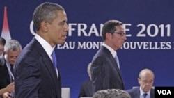 Prezidan ameriken an, Barack Obama ak Prezidan Fransè a Nicholas Sarkozy nan somè G-20 2011 la nan Cannes, France