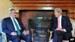 5月9日美国国务卿克里与约旦外交大臣朱达在罗马美国大使官邸会谈
